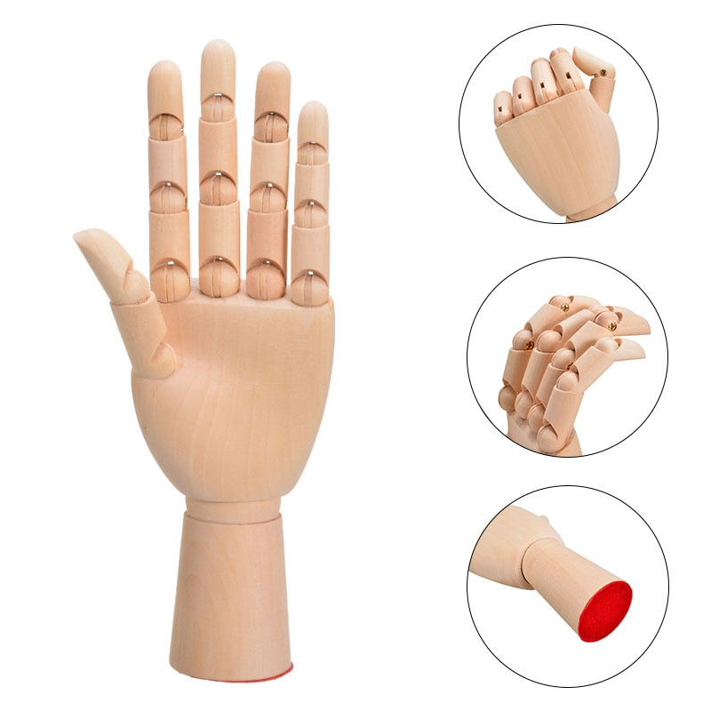 1pc 7 inch Wooden Hand Model Human Figure Artist Painting Model Mannequin Jointed Doll Flexible Drawing Manikin Wood Sculpture real black female mannequin head model wig hat jewelry display cosmetology manikin hairdressing doll women hairdresser manikin