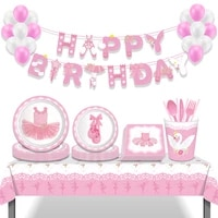 girls pink ballet theme happy birthday party disposable tableware sets dinner dessert plates for kids baby shower party favors