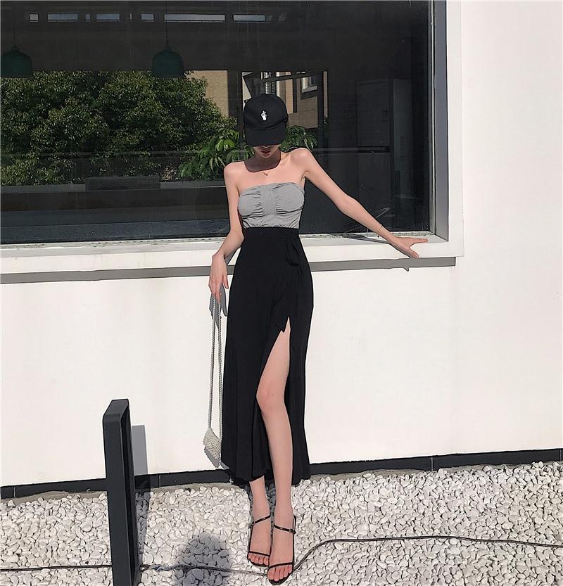 Chest Wrap Suit Skirt Summer Pleated Belt Chest Pad Vest Women's Tied High Waist Split One-Piece Dre