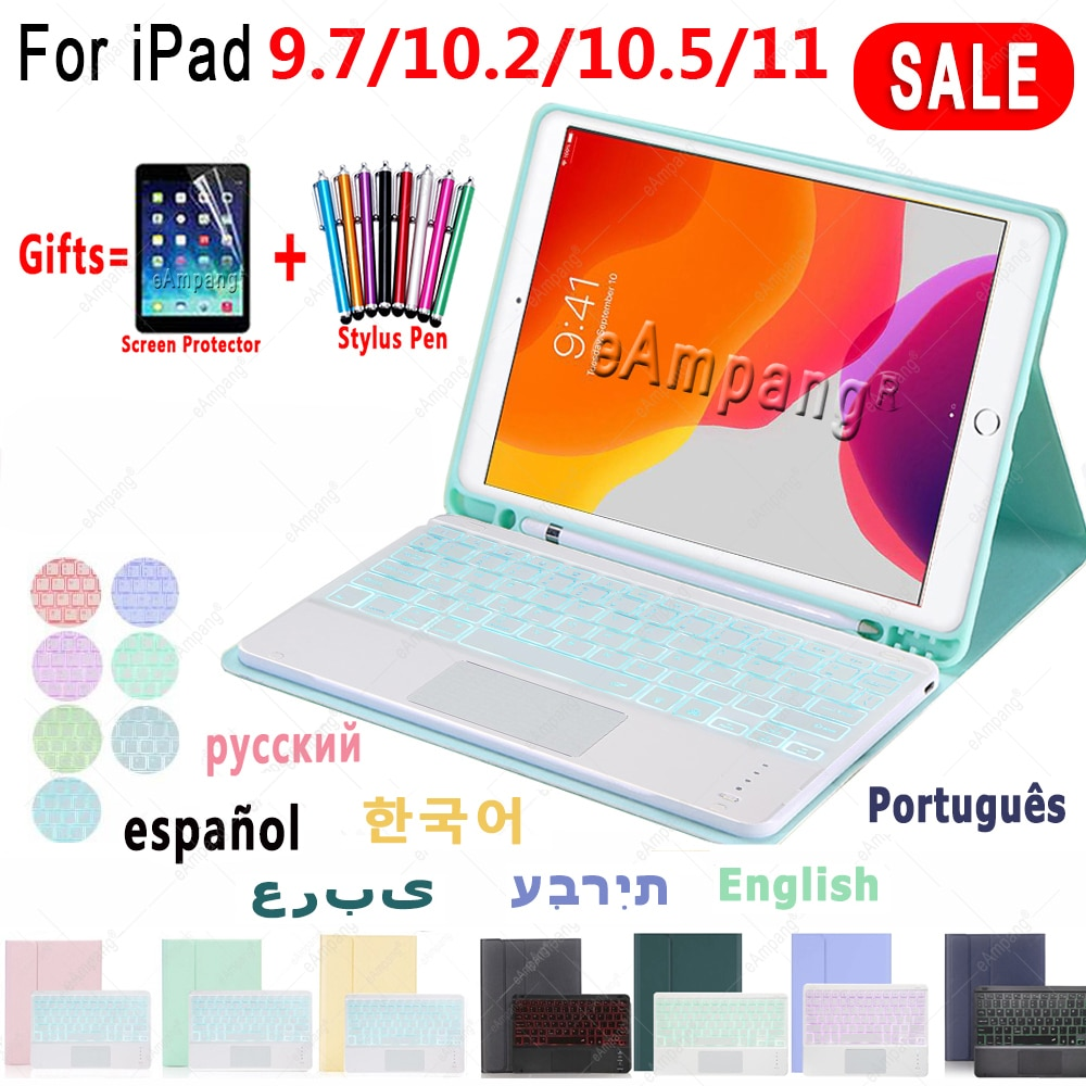 Чехол с клавиатурой для iPad Air 4 4th Pro 11 10,2 9 9th 2021 8 8th 7 7th Air 2 3 9,7 5th 6th Pro 10,5 русская испанская Иврит Клавиатура
