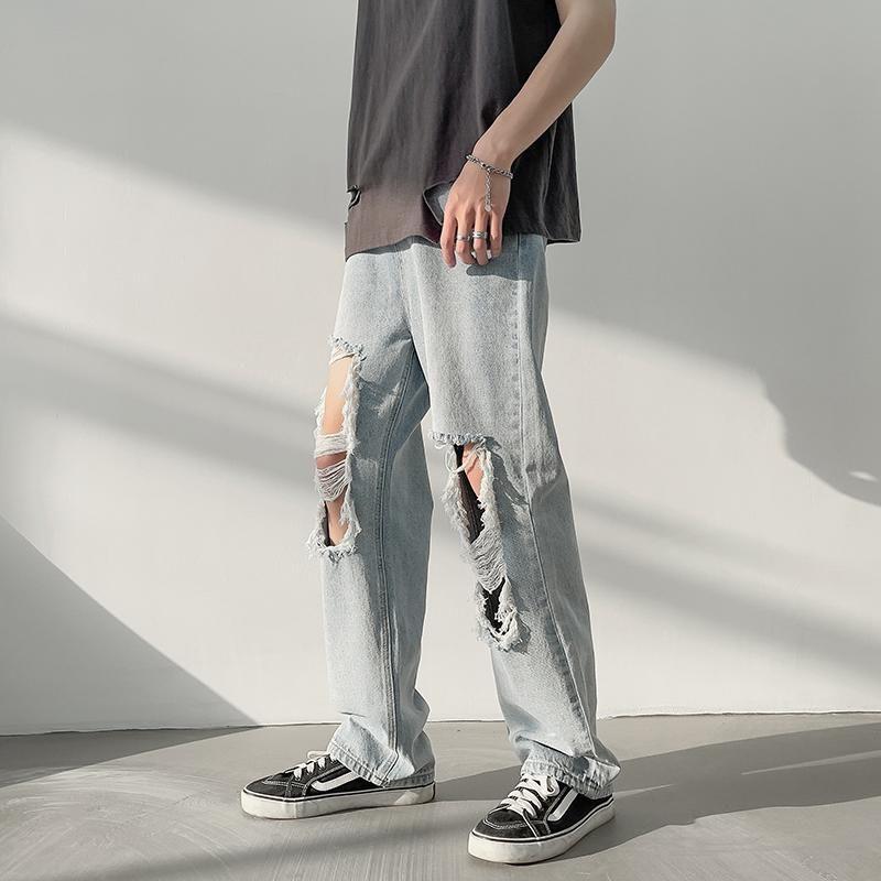 Рваные джинсы мужские летние трендовые повседневные брюки в гонконгском стиле с широкими штанинами уличная одежда красивые прямые свободн... красивые прямые диваны