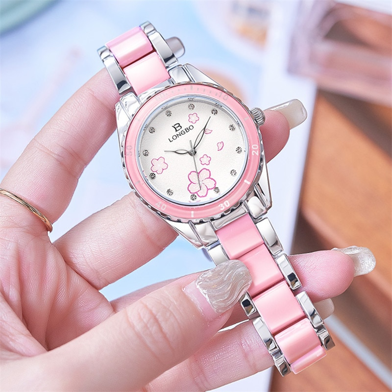 NEW Fashion Longbo Brand Women Luxury Watches Top pink Ceramic Quartz Watch Ladies Casual Simple Waterproof Wristwatch For Woman enlarge