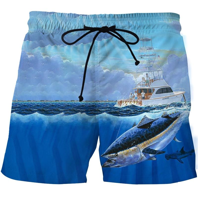 Мужские летние пляжные брюки 2021, свободные дышащие пляжные брюки с 3D-принтом рыбы, мужские летние пляжные брюки с принтом рыбы, быстросохнущ...