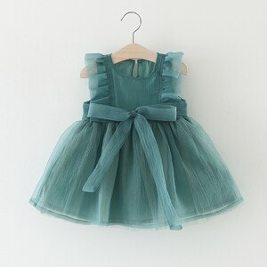 Newborn Baby Girls Dress Kids Baby Fancy Birthday Mesh Dress Infant Sleeveless Party Dress Baby Dress Summer Birthday Girl