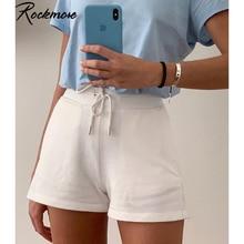 Rockmore lazo Sexy de mujer, pantalones cortos de verano blanco Streetwear Harajuku liso pantalones bolsillos de gran tamaño Casual pantalones cortos de moda