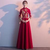 red bridal dress chinese wedding cheongsam dresses skirt female modern asian women embroidered a line formal gowns vestido