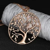 fashion drop pendant necklace luxury women zinc alloy owl tree of life round pendant necklace clavicle chain jewelry