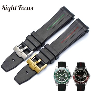 Curved 20mm 21mm Watch Strap for Rolex Black Water Ghost Rubber Watchband Submariner GMT Strap Male Bracelets Relogio Masculino