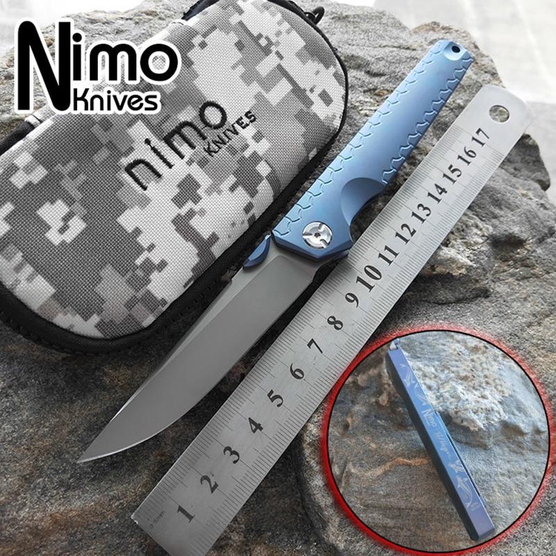 NIMO KNIVES Original design titanium alloy integral handle folding knife blade M390 outdoor camping knife Cyprinus carpio EDC