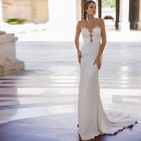 charming wedding dresses jersey appliques pleat v neck sleeveless backless mermaid bridal gowns novia do 2021