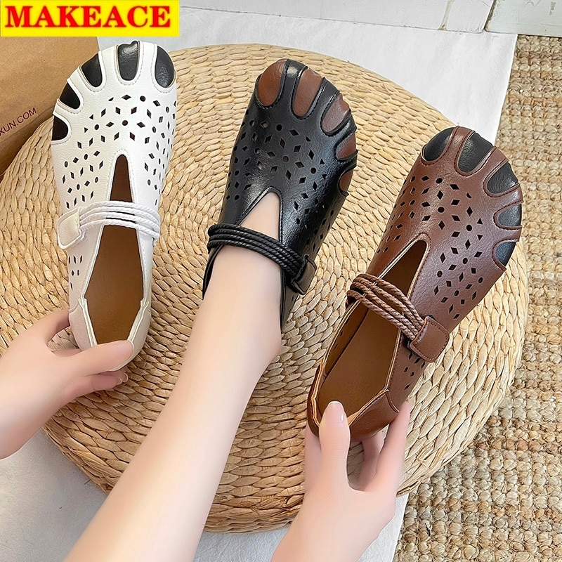 Women's Shoes Sandals Loafers Casual Flat Leather Breathable Summer Joker Formal