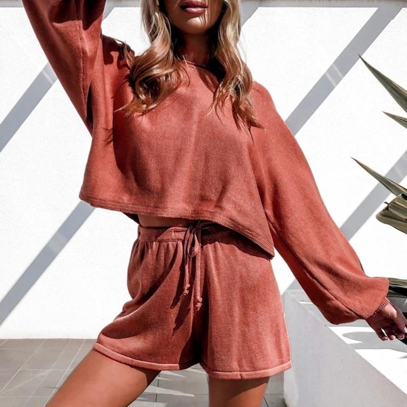 Women 2Pcs Knit Outfit Puff Sleeve Crop Top Drawstring Shorts Sweater Loungewear enlarge