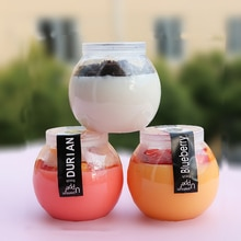 50 piezas 160ml redondo botella de yogurt transparente para hornear pudín gelatina helado tazas de plástico pequeña taza de envasado de postre para mascotas con tapa