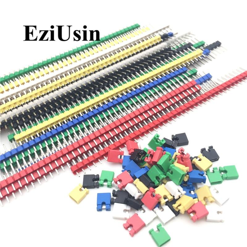 90 teile/los 2,54 40 Pin 1x40 Einreihige Männlichen Zerbrechliche Pin Header Stecker Streifen & Jumper Blöcke für arduino Bunte 2,54mm