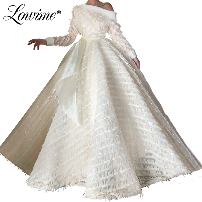 2020 New Arrival Dubai Evening Dress Off The Shoulder With Long Sleeves A Line Prom Dresses Vestido Party Gowns Arabic Dress