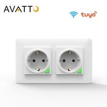 AVATTO Tuya 16A EU WiFi 스마트 벽 소켓, 스마트 라이프 APP 원격 제어 Wifi 전원 플러그 스마트 콘센트 작업 Google 홈 Alexa