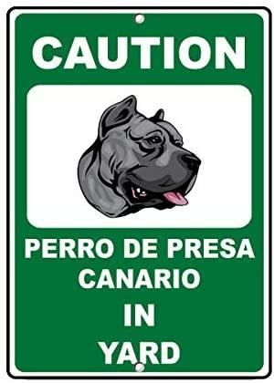 Crysss-PERRO DE Presa Canario, aviso, diversión, 12X8 pulgadas, señal DE Metal, novedad