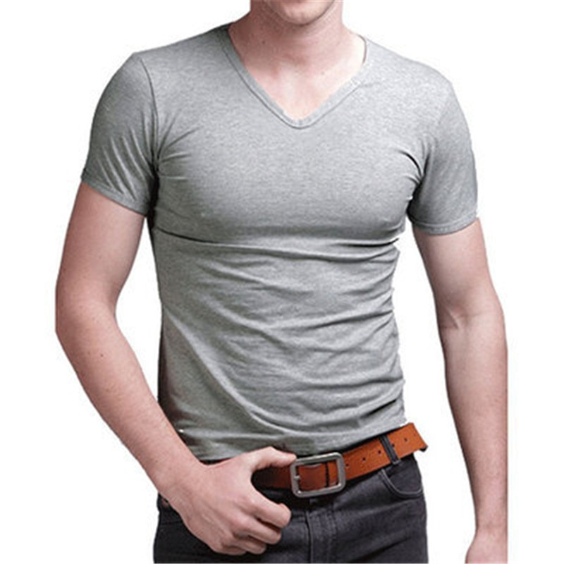 C1280-2020Summer new men's T-shirts solid color slim trend casual short-sleeved fashion