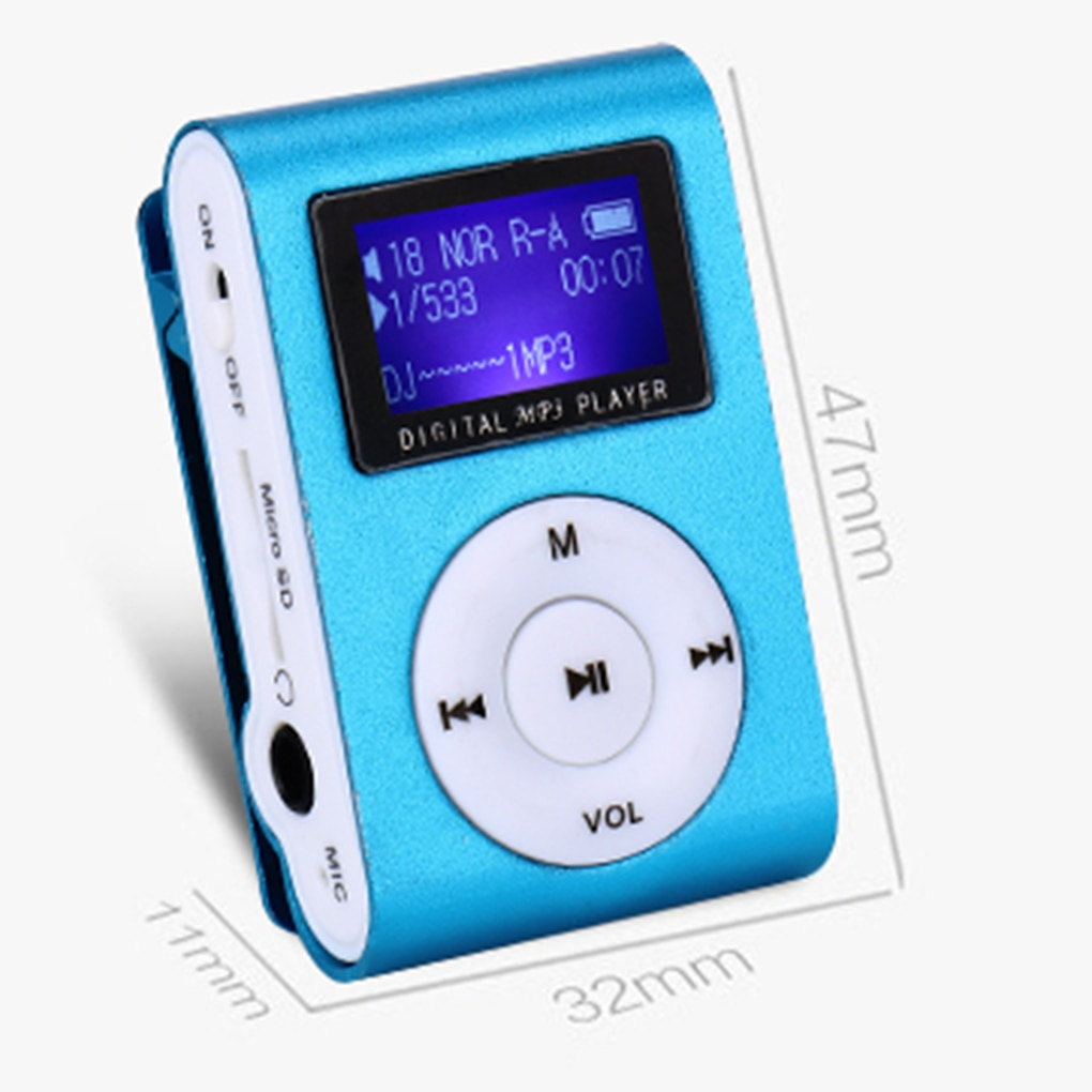 Mini Clip MP3 Player LCD Screen Metal Sports with Micro TF/SD Slot with Earphone and USB Cable Porta