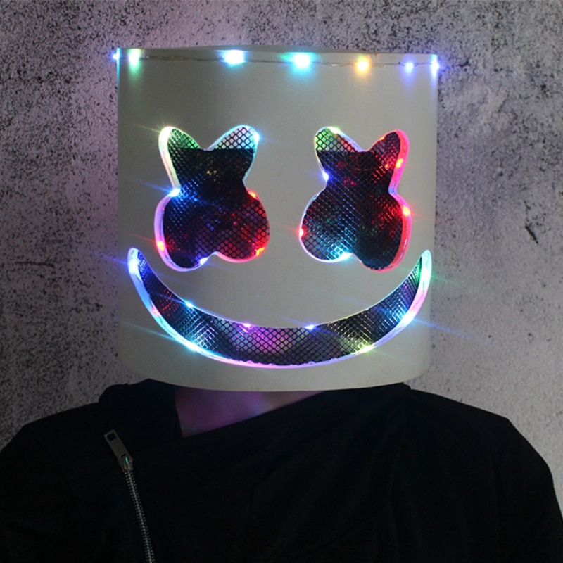 Stage Costumes Led Color Light Marshmallow Hood Cosplay Helmet Halloween Horror Nightclub Bar Show D