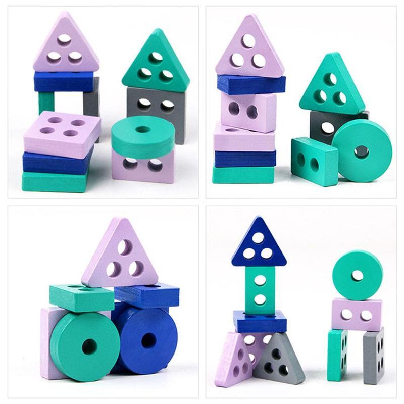 Детские познавательные деревянные строительные блоки Монтессори для ранних детей, Обучающие игрушки, развивающие игрушки, цветная форма, ...