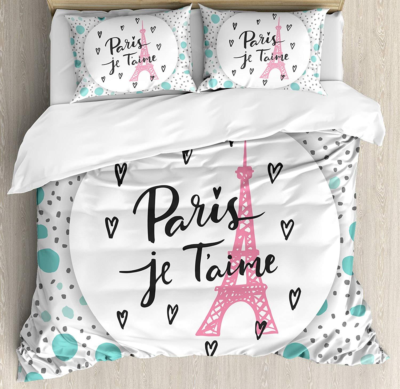 Decoración de la ciudad de París funda de edredón tamaño Queen Set por Ambesonne Paris te amo letras moda Fondo moderno Europa arquitectónica