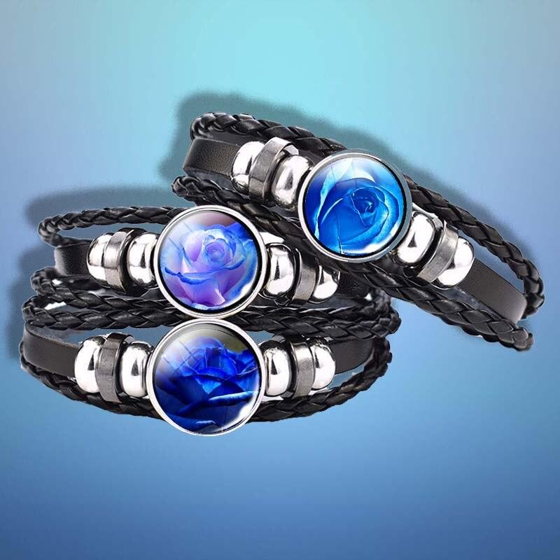 Pulsera de cuero con botón negro para amantes de la flor rosa de amor de hechicera azul, cabujón de cristal, suministros artesanales, regalo para amantes hechos a mano