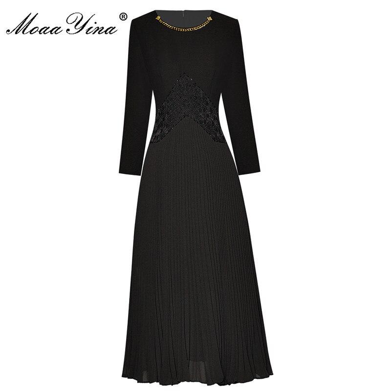 MoaaYina موضة المدرج الخريف فستان أسود المرأة س الرقبة الخرز الربط فستان طويل مطوي