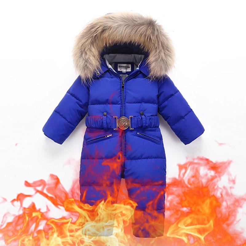 Russia Winter Baby Down Ski Suit Windproof Warm Snow Coat Toddler Boys Girls Snowboarding Skiing Jacket Jumpsuit TX332