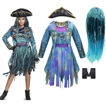 Descendants 3 Mal Bertha Maleficent Curls Live Evil Straight Blue Kids Girls Cosplay Cap Dress Hallo