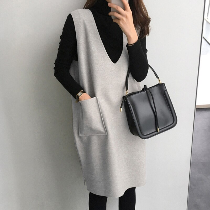 Woolen Vest Skirt Women's Autumn and Winter New Mid-Length Loose Jumper Large Size Dress Suit Two-Pi