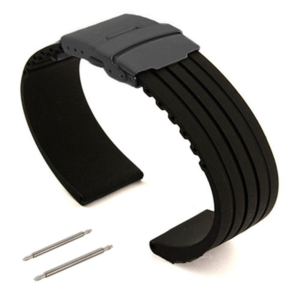 Mm 16mm 18mm 20mm 22mm 24mm negro de goma de silicona de correa de repuesto para reloj Correa PVD doble bloqueo de la hebilla