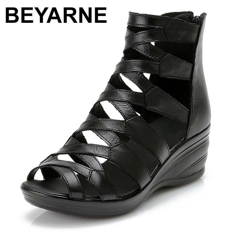BEYARNE-صندل مسطح من الجلد الطبيعي بمقدمة مفتوحة للأمهات ، أحذية صيفية ، نعل خارجي ناعم ، مريح ، 2021