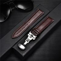 Ремешок для наручных часов, гладкий браслет из натуральной телячьей кожи, твердый автоматический деловой браслет с застежкой-бабочкой, 18 мм...