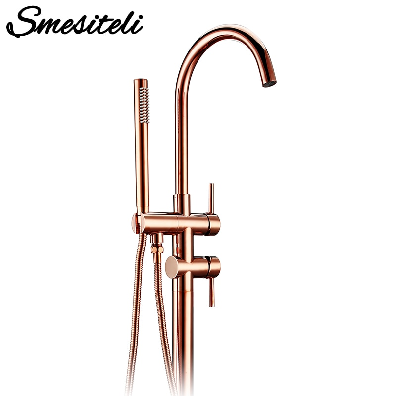 Bathroom Shower Diverter Spout Mixer Tap Brass Bathtub Floor Standing Faucet Tap Faucet Rose Gold for Bath 10 Year Warranty