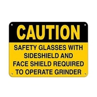 caution required safety glasses and face shield to opera tin sign art wall decorationvintage aluminum retro metal sign