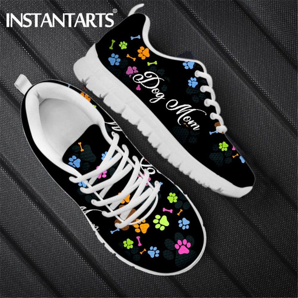 INSTANTARTS-Zapatillas deportivas con cordones para mujer, Zapatos Planos de malla con diseño...