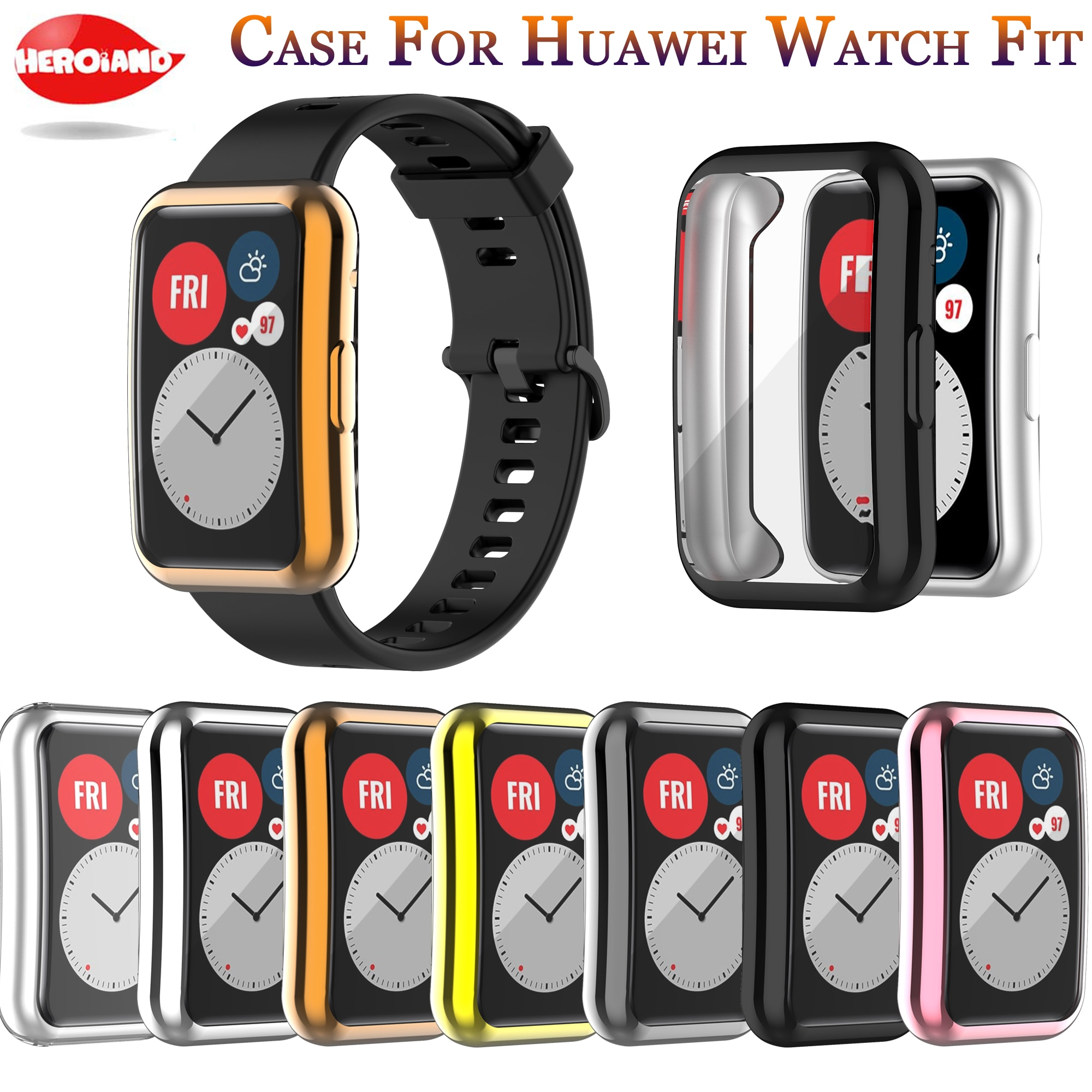 TPU Soft Full Screen Glass Protector Case Shell Edge Frame For Huawei Watch Fit Strap Band Protective Film Strap For Huawei Fit tpu soft silicone soft full screen glass protector case shell frame for huawei honor es watch fitting plating protective cover
