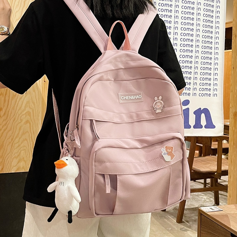 New Pink Ladies Nylon Backpack Harajuku College Style Cute Casual Badge Student Schoolbag Candy Colo