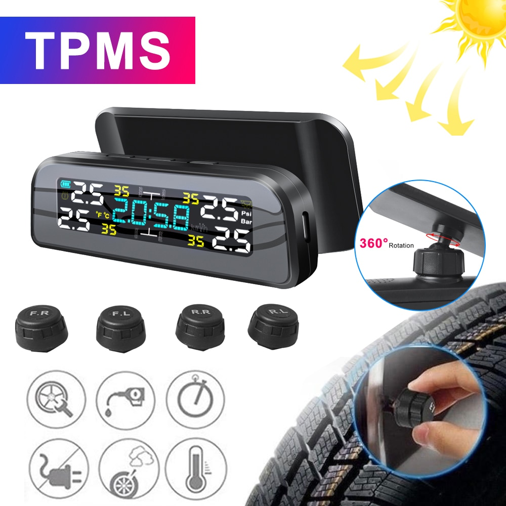 TPMS Solar Power TPMS Car Tire Pressure Alarm 360 Adjustable Monitor Auto Security System Tyre Press