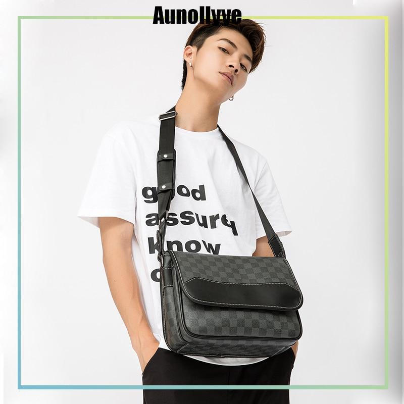 Checkered Texture Black Leather Men'S Shoulder Bag Luxury Design Brand Business Casual Men'S Messenger Cross-Body Shoulder Bag