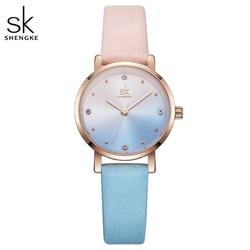 Shengke Criativo de Couro Assista Mulheres Senhoras Moda Jovem Menina Relógios de Quartzo Mulheres Relógios Reloj Mujer Relogio feminino 2019 SK