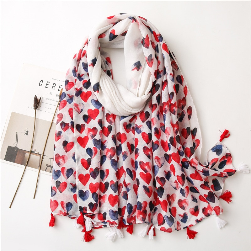 2021 Spring New Sweet Red Love Print Cotton Scarf Women Soft Sunscreen Shawl