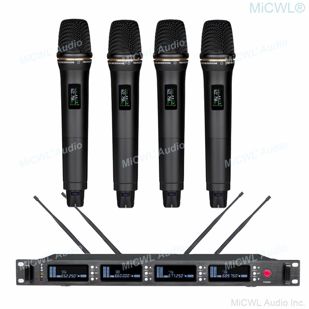MiCWL أعلى أداء مرحلة الكاريوكي 4 يده ميكروفون لاسلكي EM6000 SKM9000 ULXD راديو Microfone نظام 400 قناة