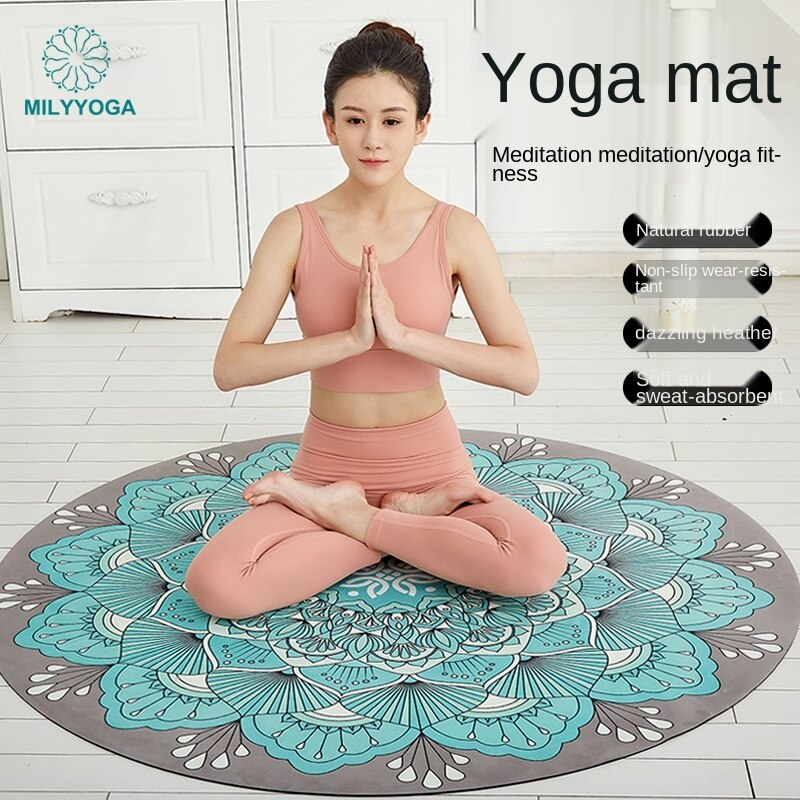 Natural Rubber round Yoga Mat Non-Slip Professional Fitness Yoga Carpet Meditation Mat Meditation Mat