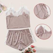 Women Pajamas V-neck Sleepwear Sexy Set Pajama Silk Nightwear Lace Homewear Strap Sleep Lounge Pyjam
