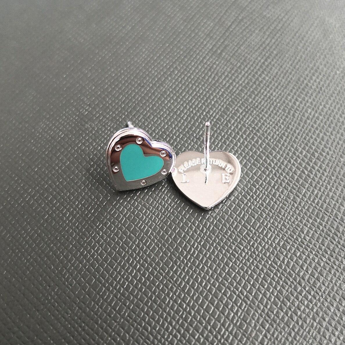 Ms S925 الفضة النقية الكلاسيكية الوردي المينا الفضة على شكل قلب أقراط سماوي الغراء الأزرق على شكل قلب أقراط
