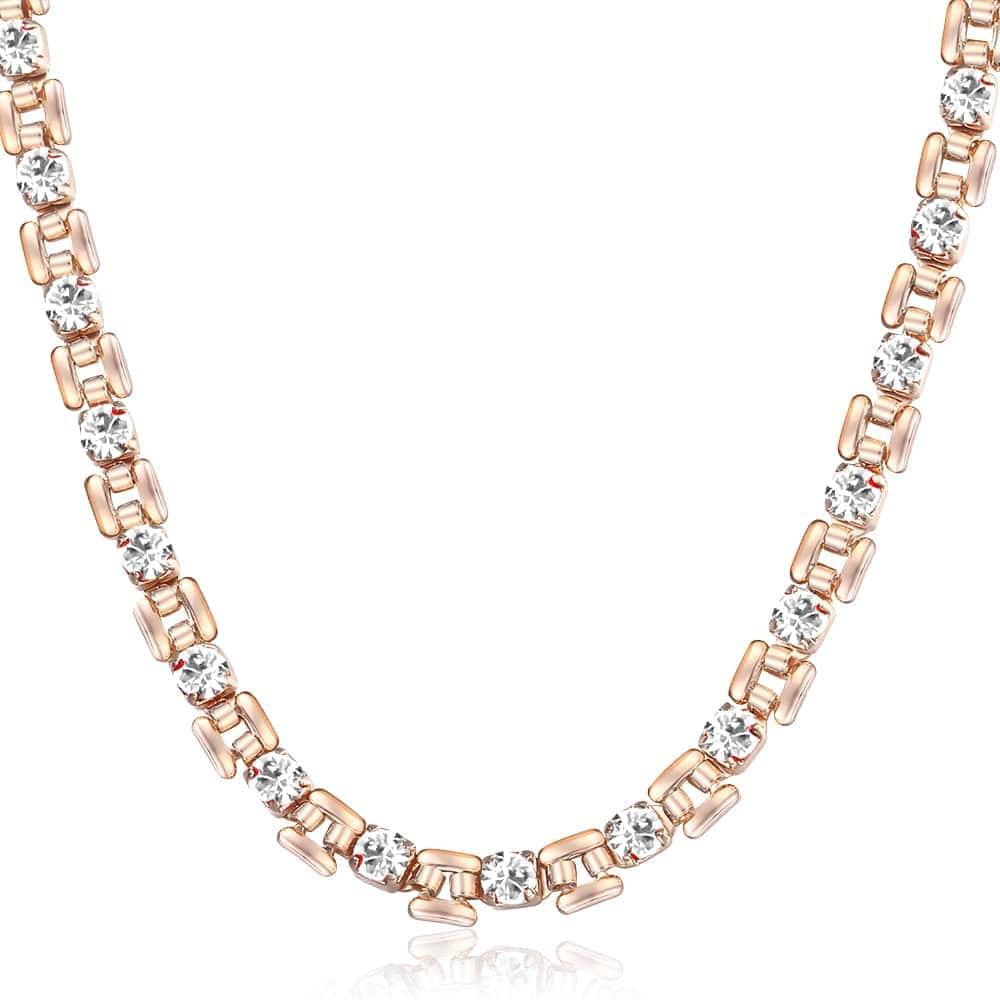 585 collar de oro rosa para mujer 1 Fila CZ cristal fiesta joyas regalos rosa púrpura rojo azul negro claro de 20 pulgadas LGN485