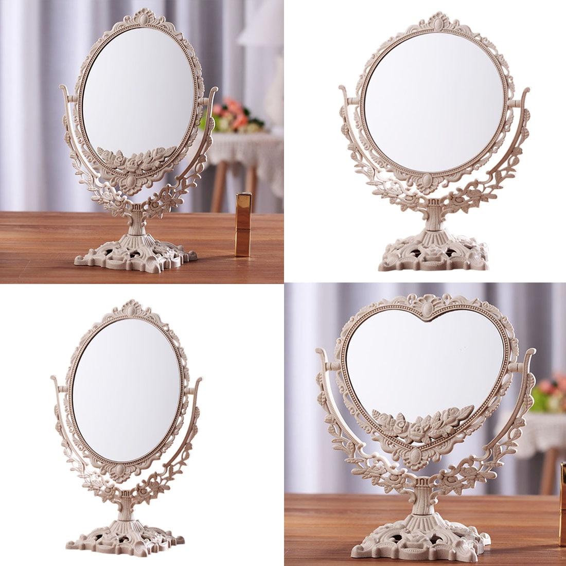 1 Pcs Vintage Lady Carved Makeup Mirror Desktop Rotatable Vanity Mirror SPA Salon Cosmetic Mirror Co