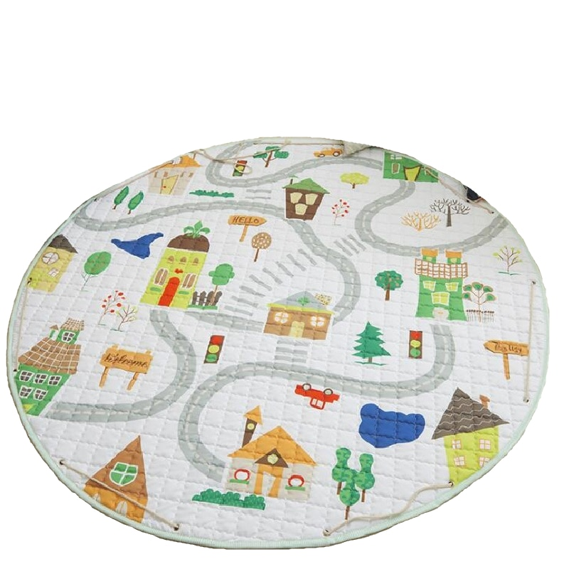 Round Floor Crawling Play Mat For Baby Room Decoration  Non Skid Carpet Blanket Kids Toys Storage Bag Beach Picnic Room Decor